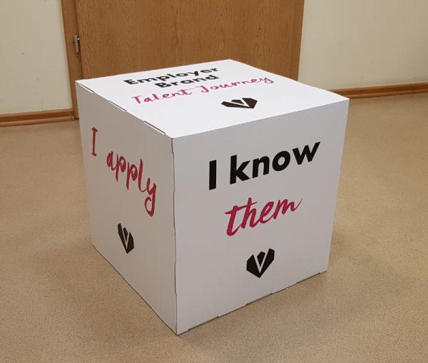 Karton Würfel bedruckt als Deckowürfel