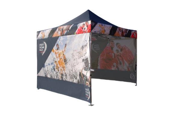 Faltpavillon 3x3 bedrucken mit Logo oder Werbespruch wasserdicht 45x45mm Alukonstruktion faltbar
